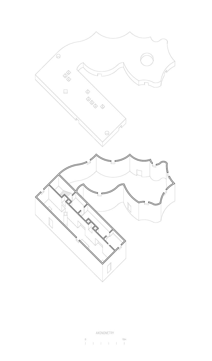 Axonometric without roof showing the interior of the house with one strange form attached to a rectangle.