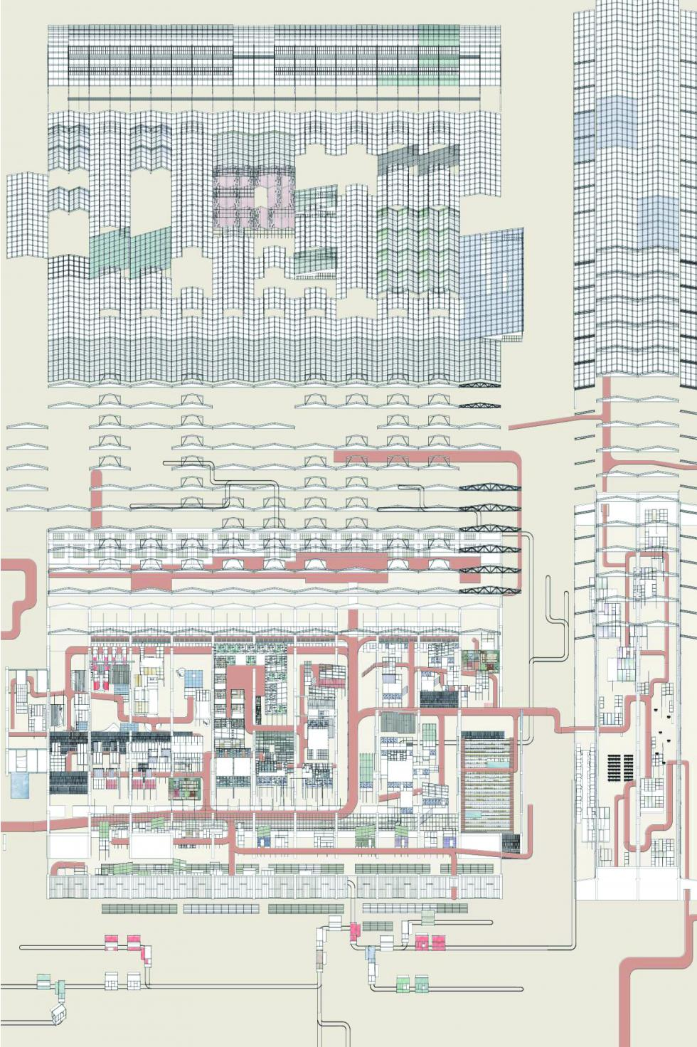 Overall axonometric showing a factory like building with pipes.