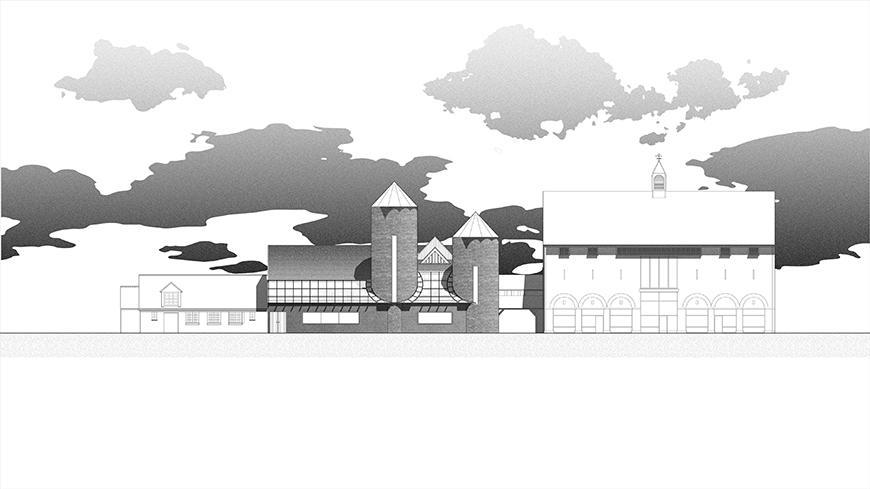 Digital rendering of a grain mill.