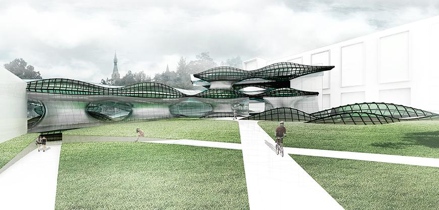 Rendering of a building with a lawn and walkways in front of it.