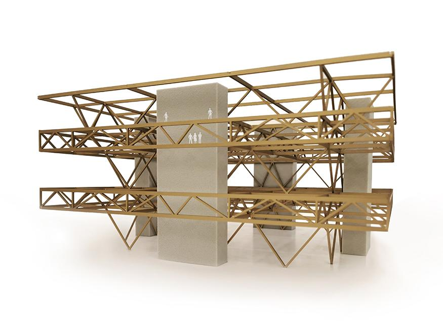 Digital rendering of the exterior of an architectural model.