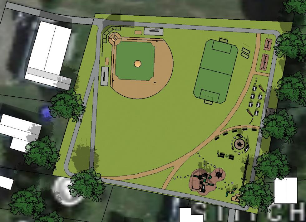 Final rendering for re-envisioning George M. Smith Park.