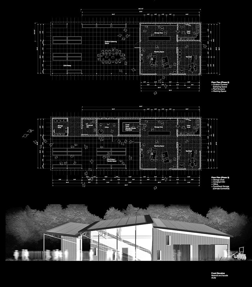 two architectural schematics and an elevation rendering of a contemporary agricultural building