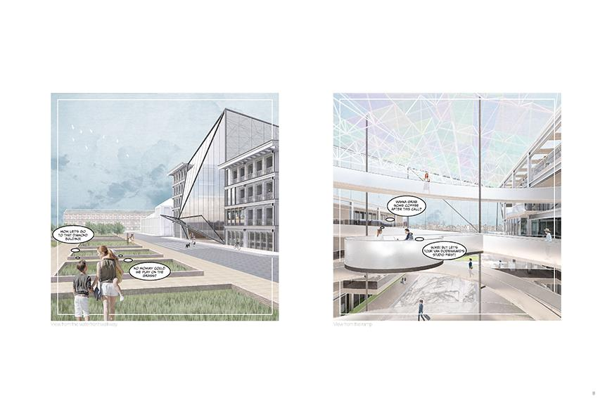 Digital rendering of an architectural structures exterior and interior.