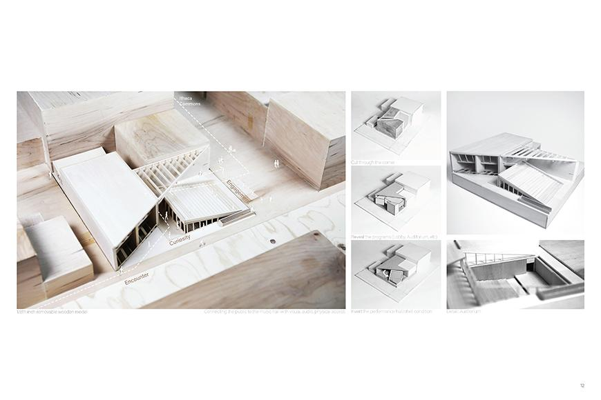 A wooden architectural model of a music hall.