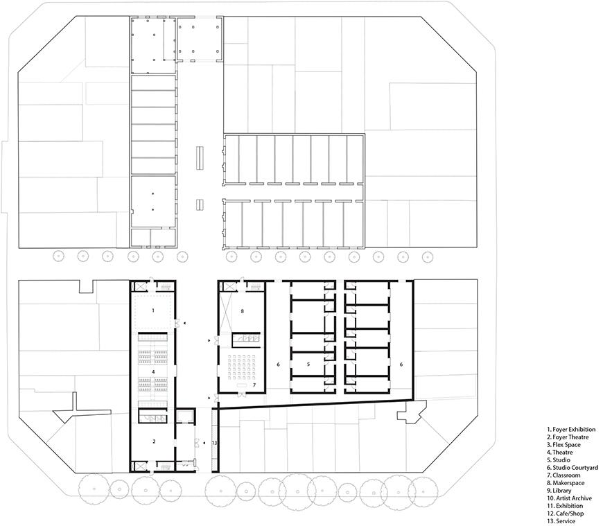 Digital rendering and overhead view of an architectural plan.