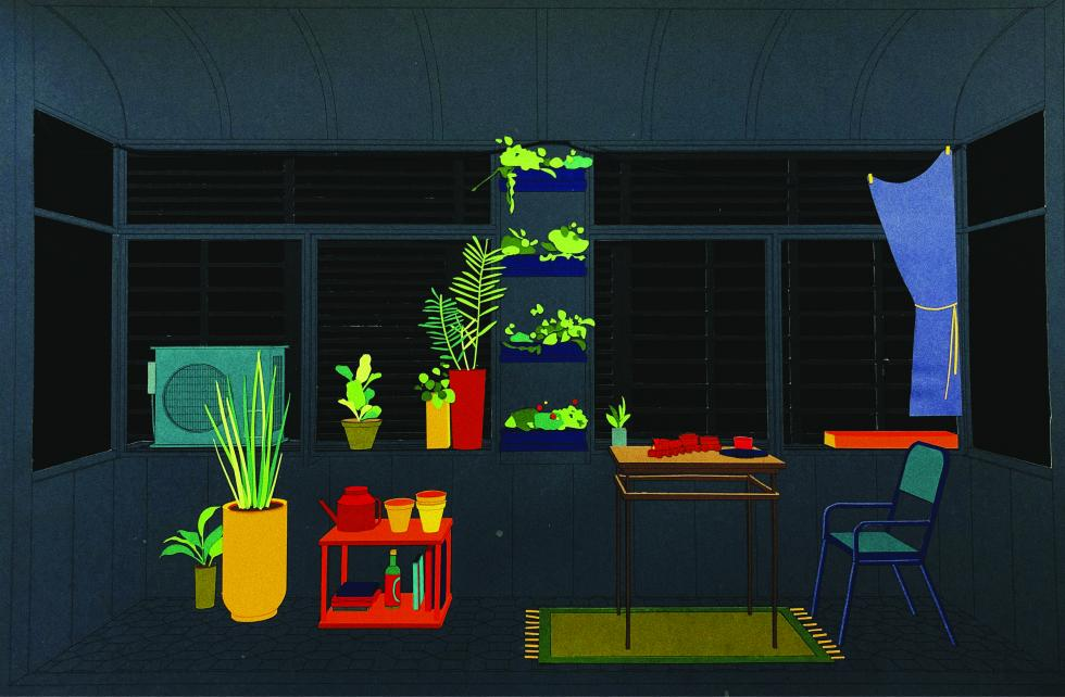Construction paper collage of dark tones of greens with objects, furniture and plants in bright colors.