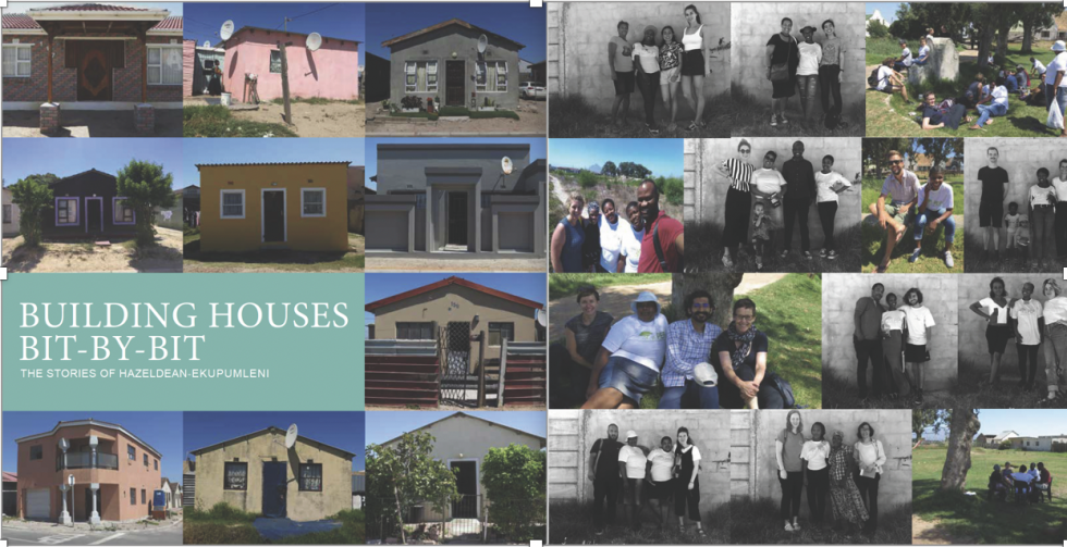 Various home structures and groups of people standing together.