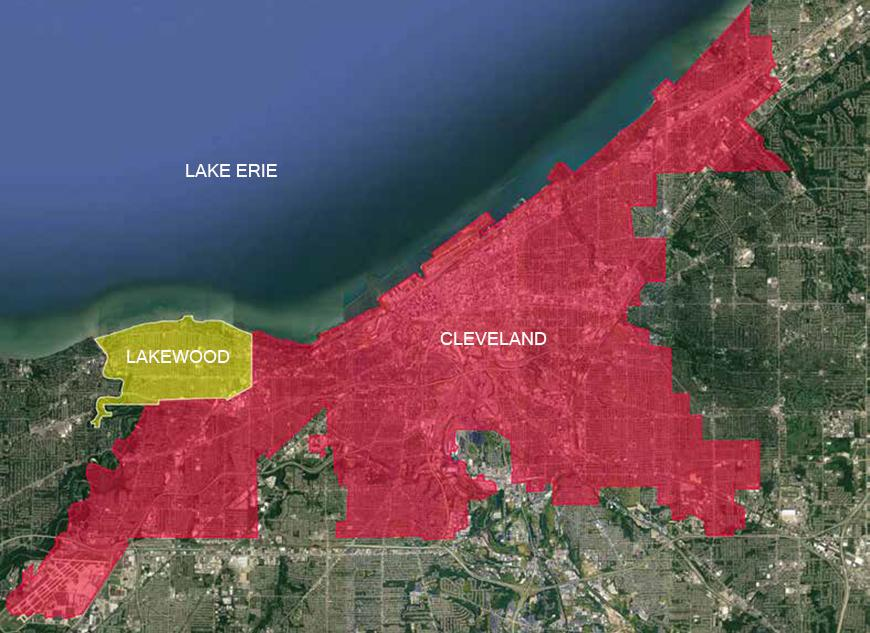 Map with areas highlighted in yellow and red, and Lake Erie, Lakewood and Cleveland written on the map