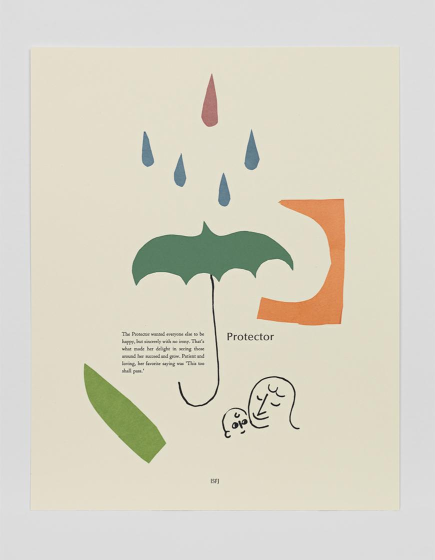 Poem written on paper with a sketch of a parent and child, cut out green umbrella, water drops, and abstract shapes.