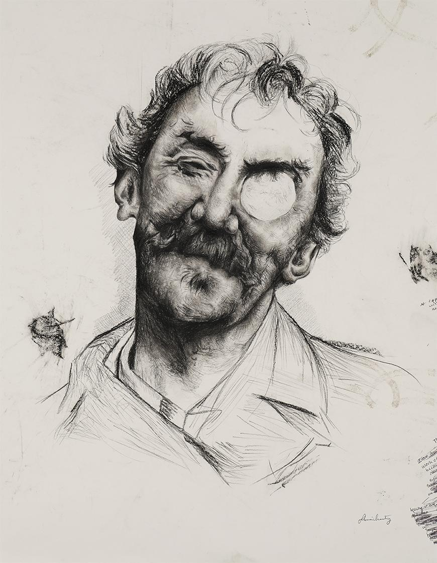 Sketch of an older man with a mustache and short wavy hair and an eye patch.