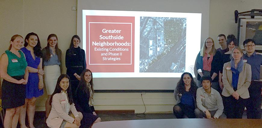 Students with Assistant Professor Jennifer Minner's land use workshop