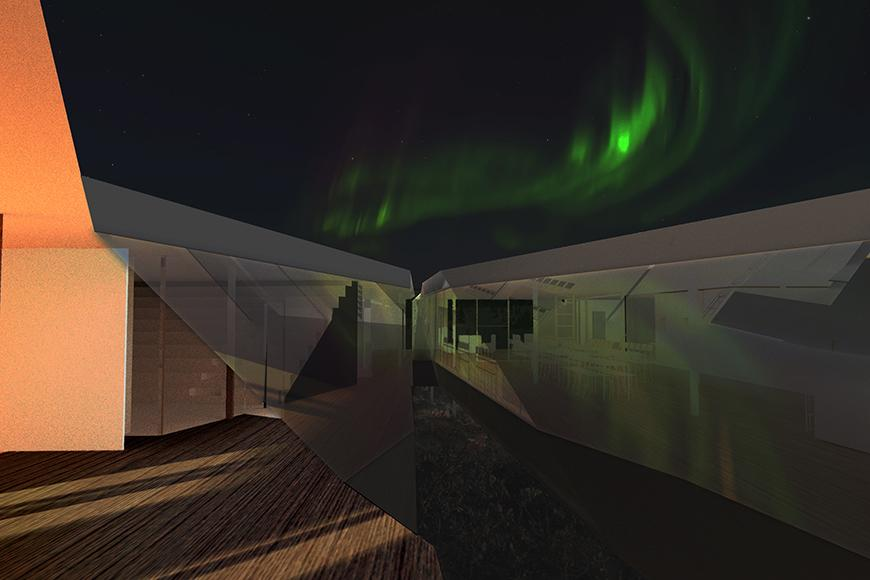 Digital rendering of an architectural structure, with the northern lights occurring in the sky above.