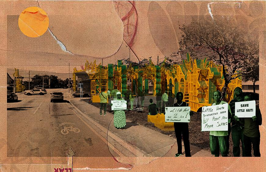Digital rendering of a series of protestors holding signs.