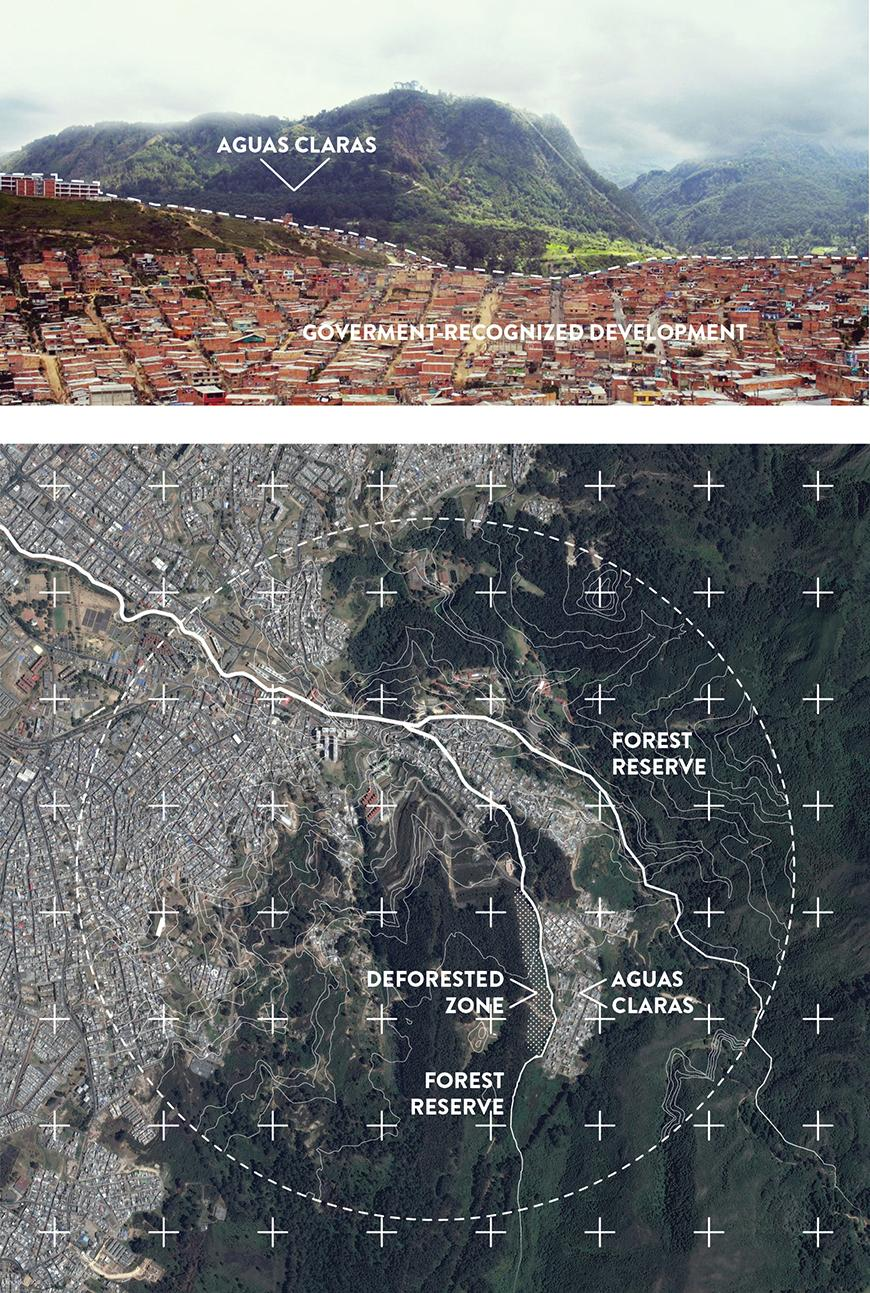 two maps of the site, one at eye level one aerial