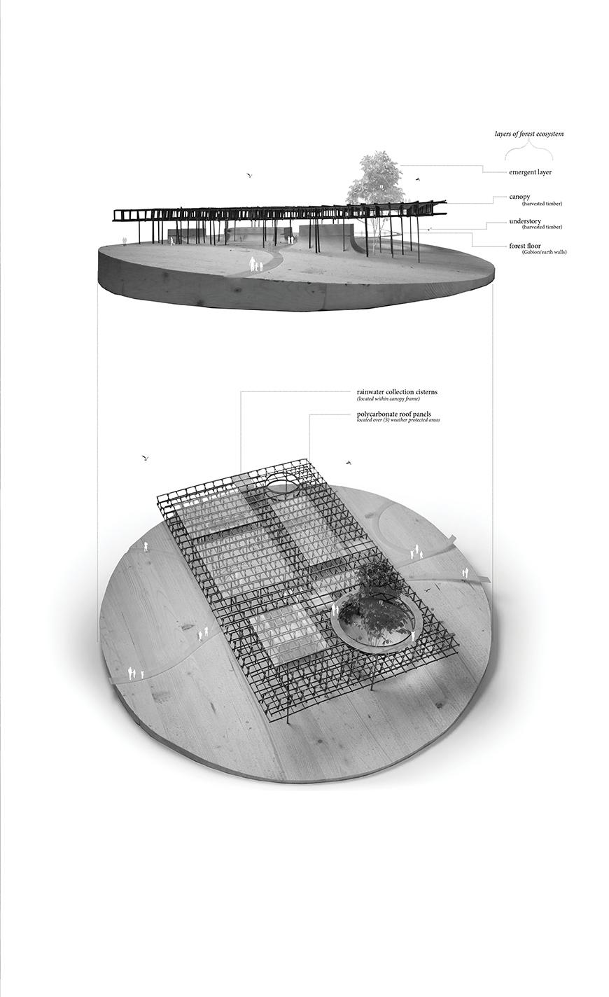 Two views of a circular model showing different views of a building