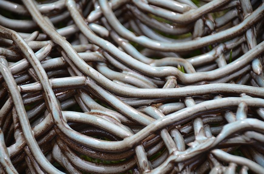 Close-up of ceramic weave.