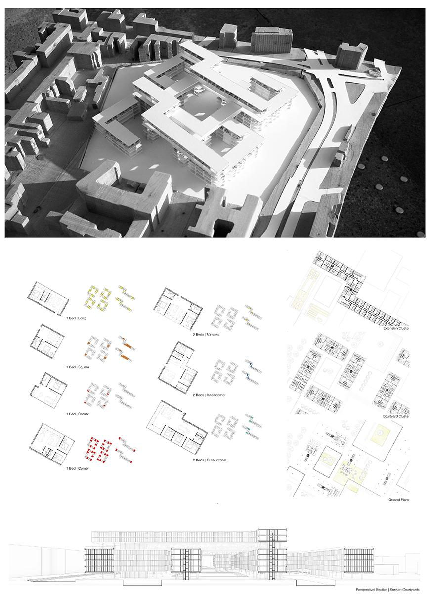Architectural model above an image of the models digital rendering.