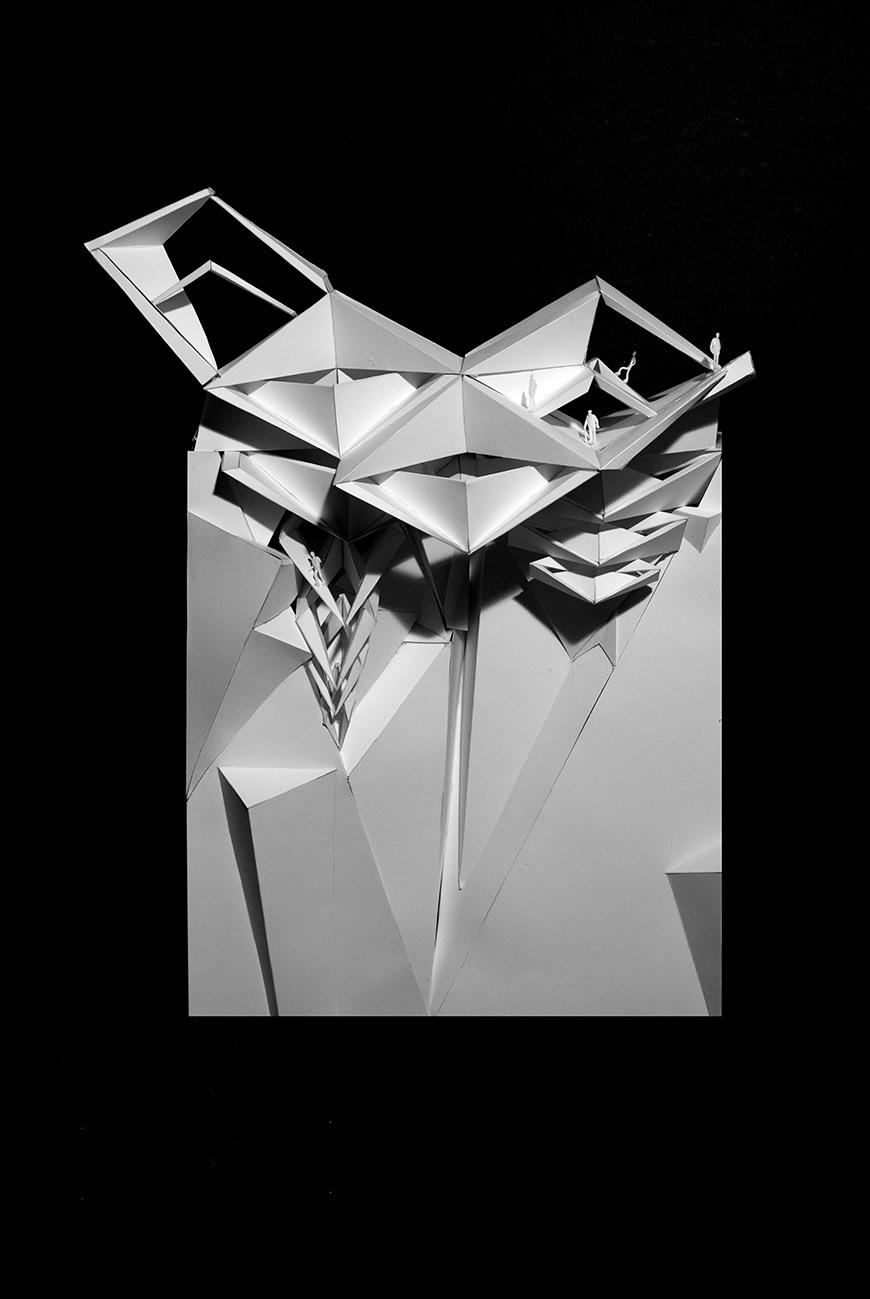detail of a model of a geometric pavilion