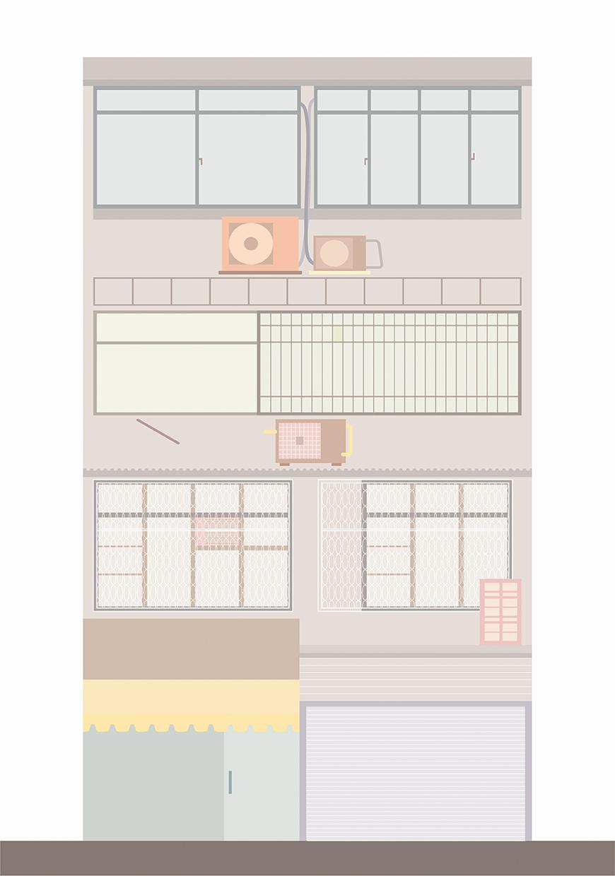 Thin building with four stories in pastel colors.