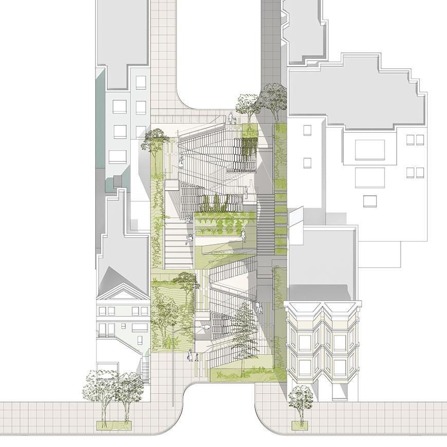 Digital arial rendering of an urban location whose center consists of a series of staircases between buildings.