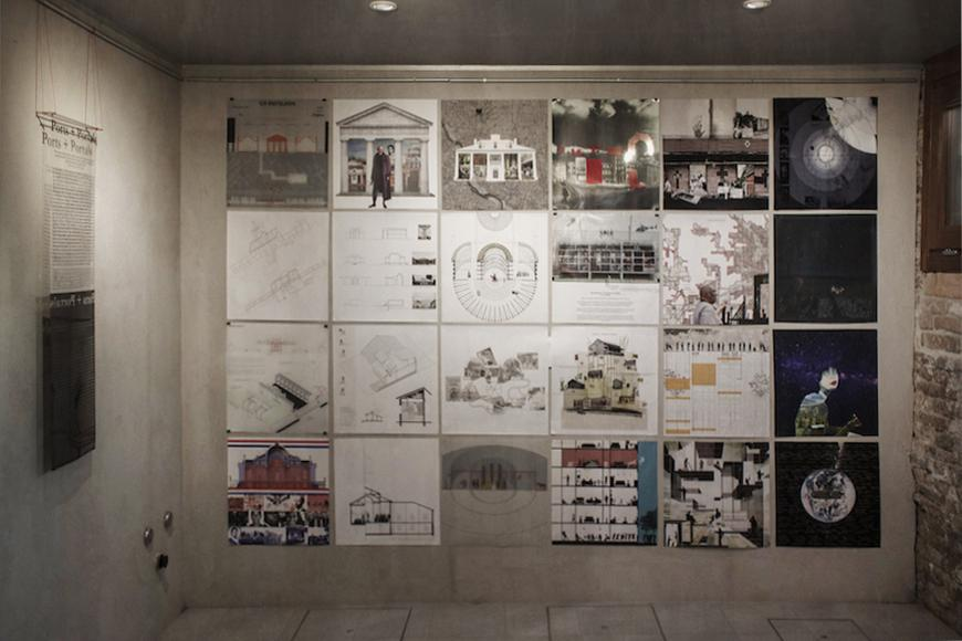 Drawings pinned to a wall during the exhibition.