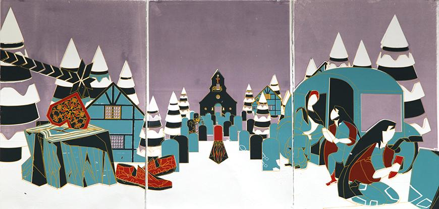 Panels featuring a winter scene in a village with teal, white, purple, and red colors.