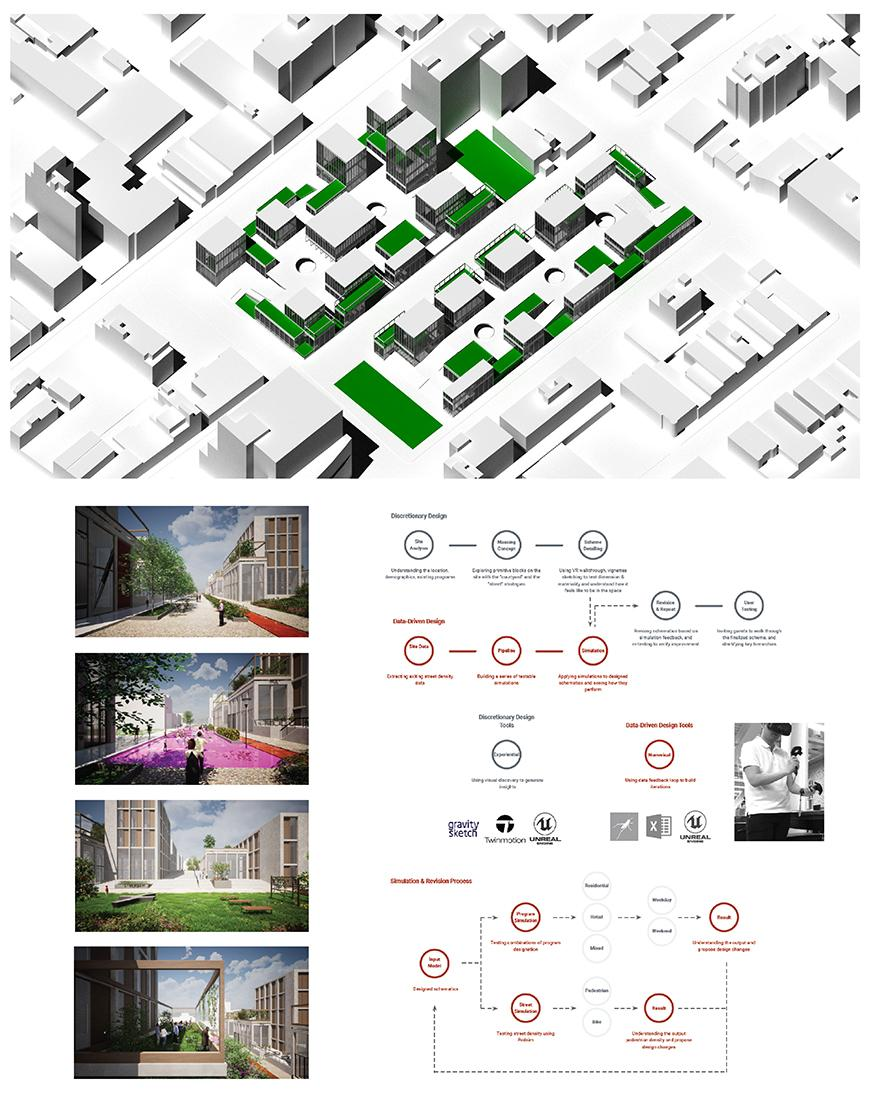 Digital rendering of an architectural structure and below information chart.