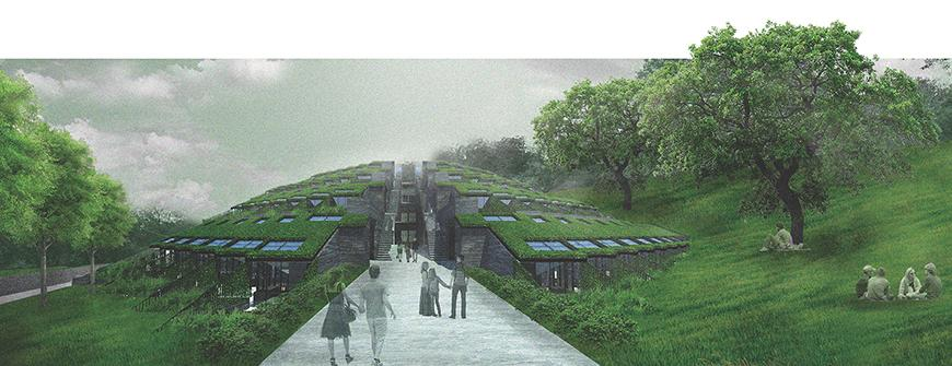 Digital rendering of an architectural structures exterior, surrounded by greenery.
