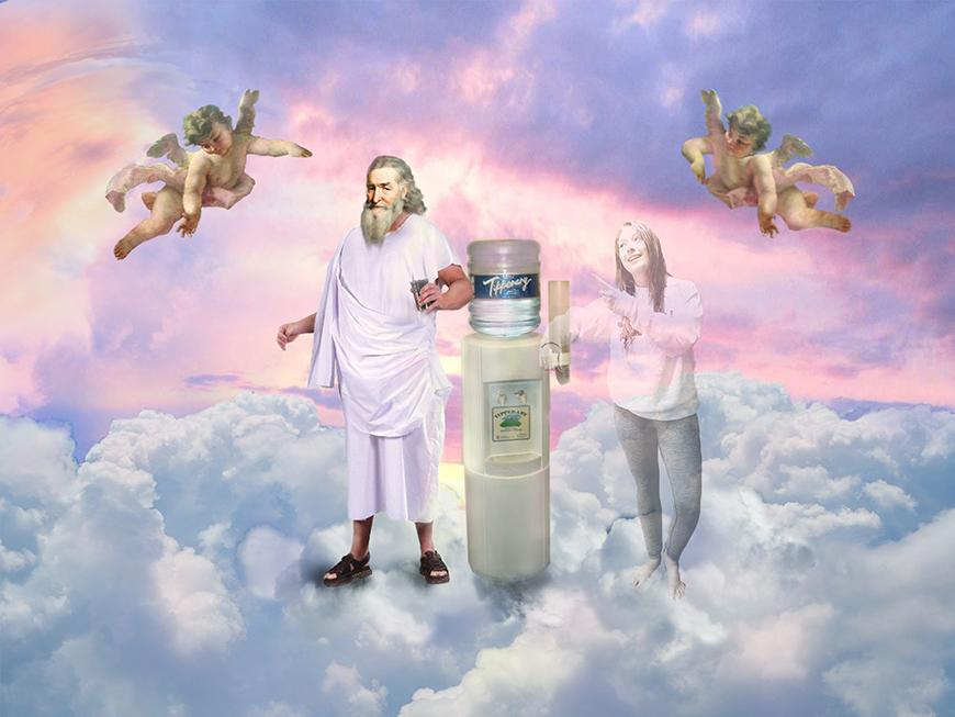 Image of clouds and purple hued sky with two angels floating above a man in a toga next to a water cooler with a girl pointing at him.