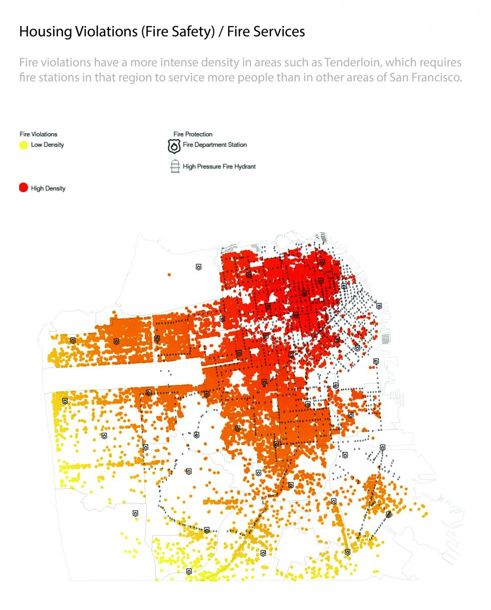 Mapping of housing violations and fire safety showing density levels from red to yellow.