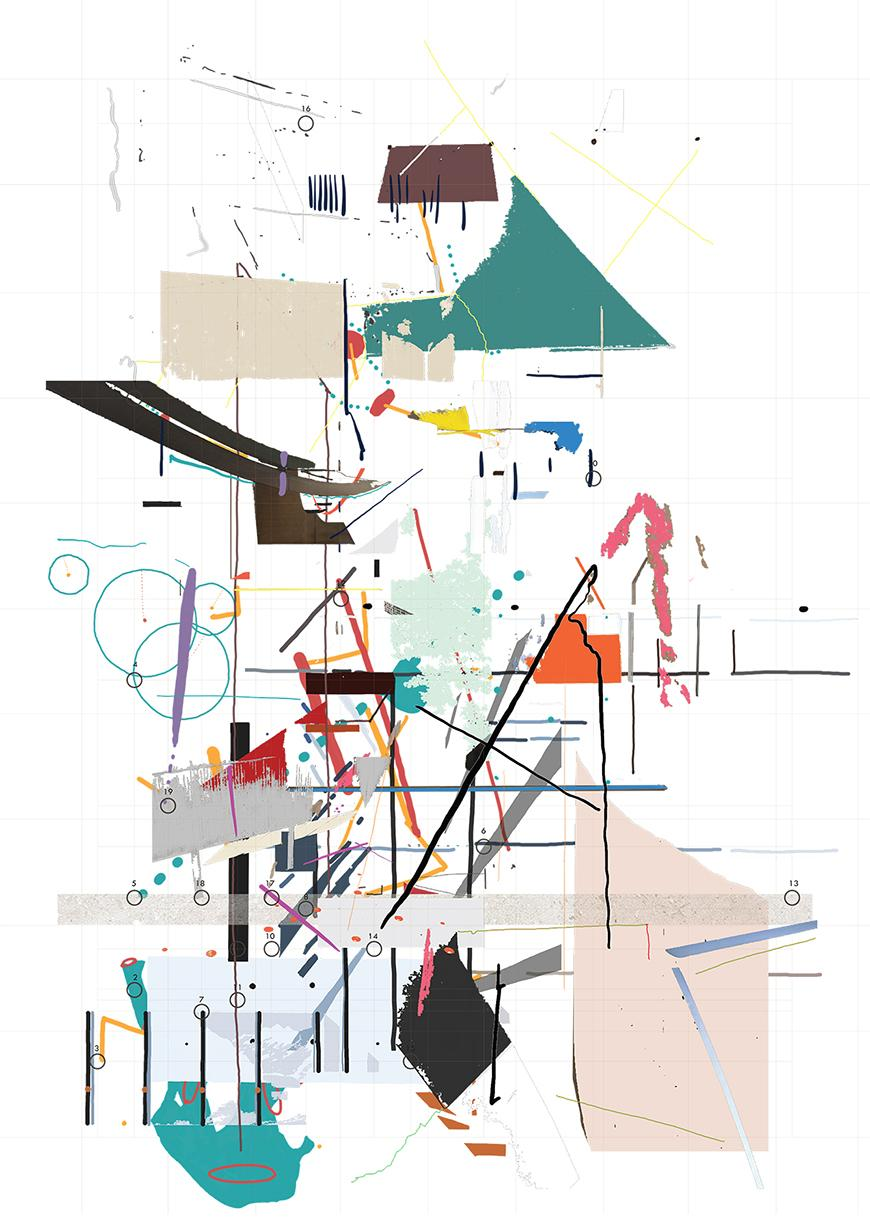 A multicolored abstract image consisting of various lines and forms.