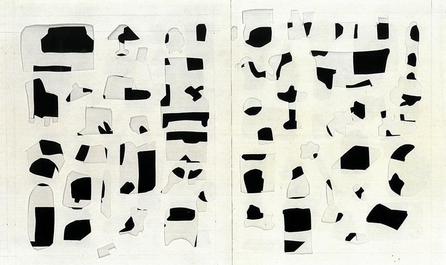 A black and white paper collage