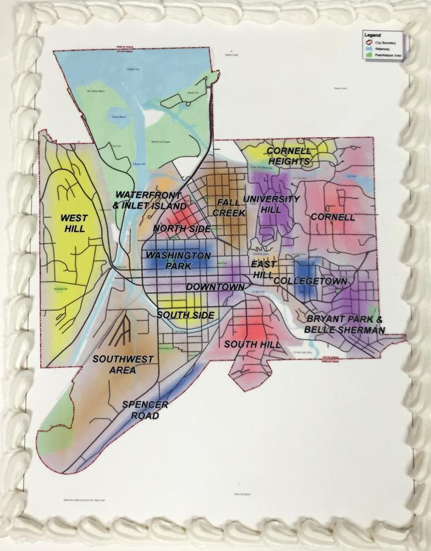 Cake with map of Ithaca neighborhoods served at the presentation