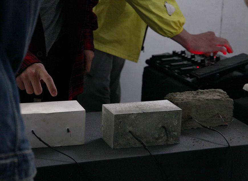 Students play Brick Instruments during thesis presentation.