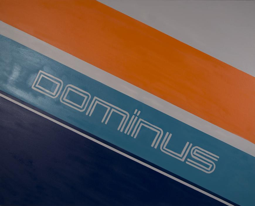 Dark and light blue painted diagonally with orange and white with the word DOMINUS in the middle.