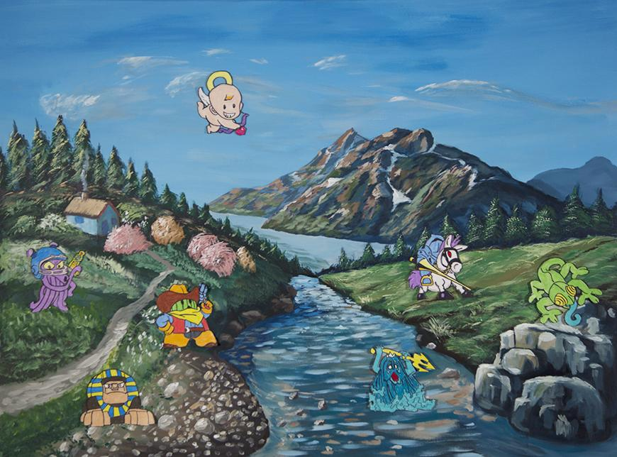 Painting of a stream surrounded by mountains, grass, and cartoon characters.