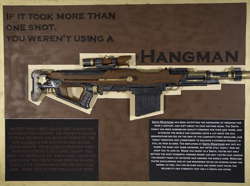 A brown, gold, and black depiction of a fictionalized weapon with a description at the bottom.