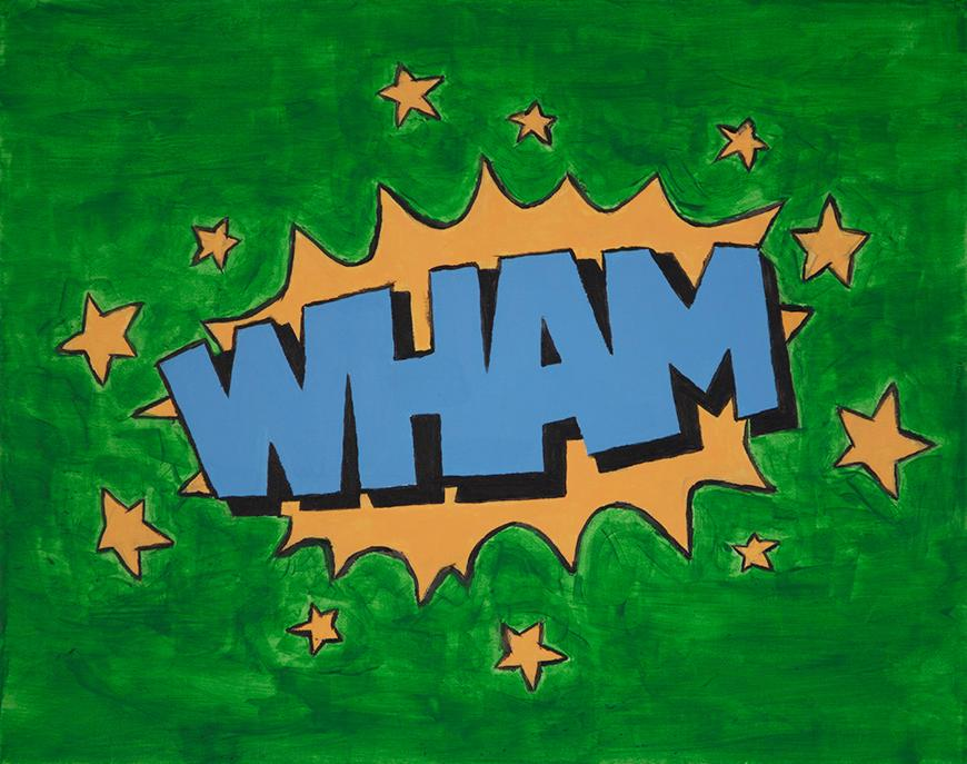 Green background with blue text stating WHAM surrounded by gold stars.