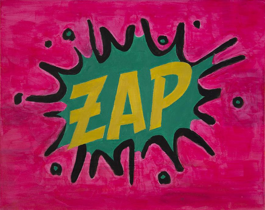 Pink background with yellow text stating ZAP in a green and black splat.