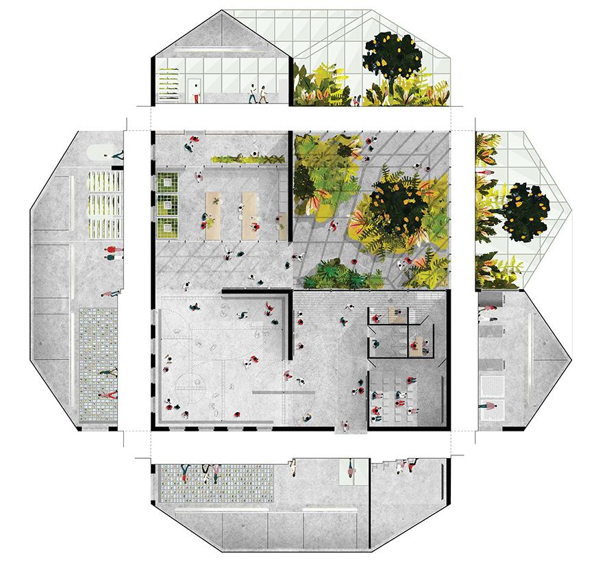 Digital rendering and arial view of an architectural structure.