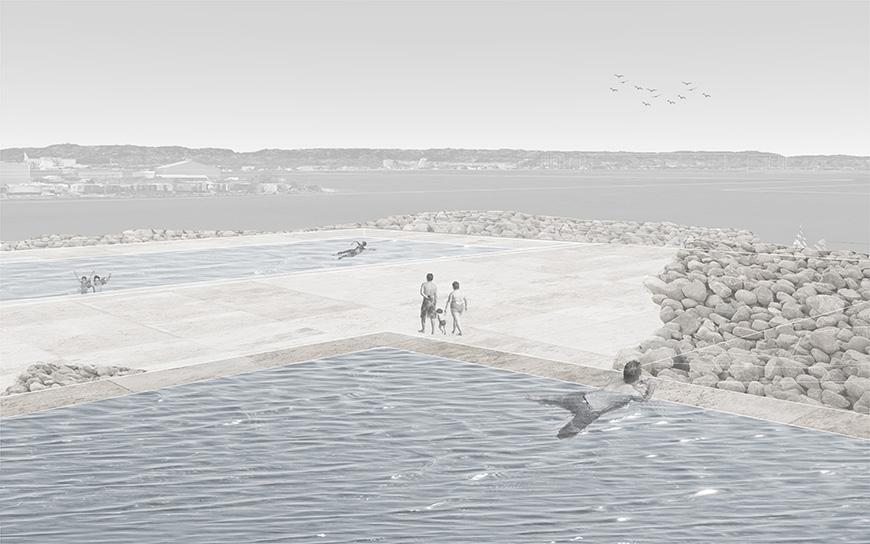 Digital rendering of an outdoor architectural structure surrounded by water.