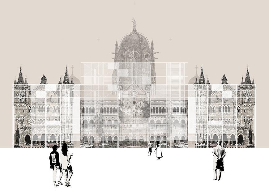 Digital rendering of a large buildings facade