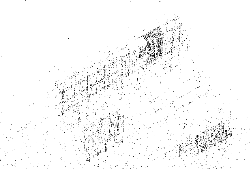 Axonometric drawing of an architectural structure.