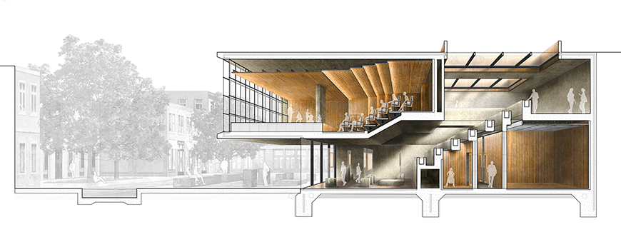 Digital rendering of the cross section of a music hall.