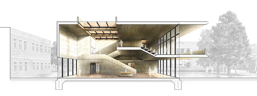 Digital rendering of a music halls atrium.