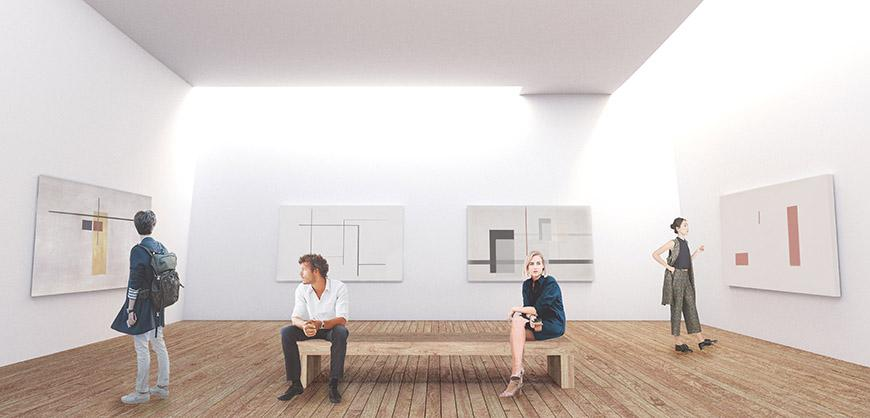 Digital rendering of the interior of an art gallery. Four abstract paintings are shown on the walls.