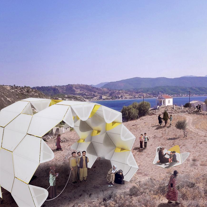 Render of assembled shelter from life-jacket modules set in mediterranean rocky shore landscape with human figures.