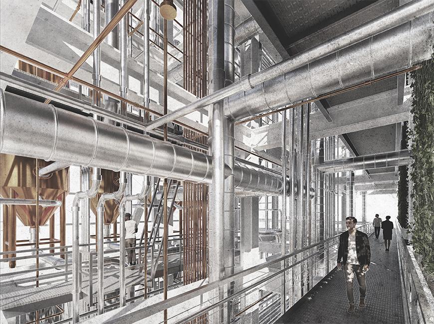 Perspective render of factory with man walking through.