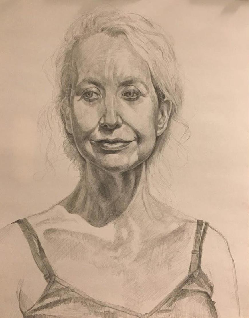 Drawing of an older woman with her hair tied back and wearing a tank top.